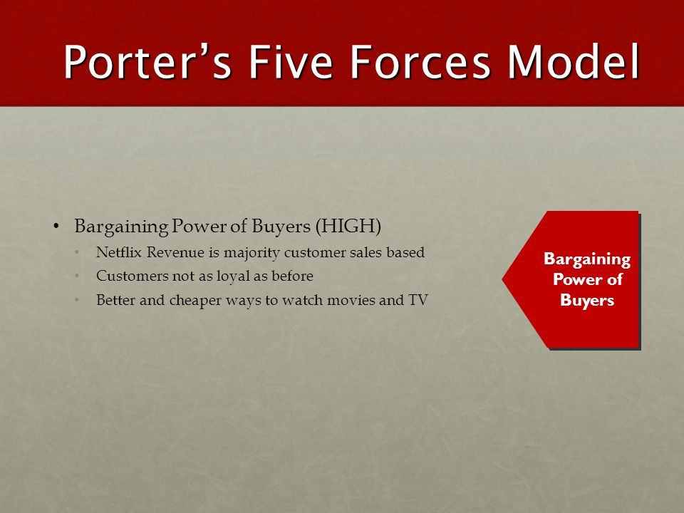 Porters Five Forces Model Bargaining Power of Buyers (HIGH) Netflix Revenue is majority customer sales based Customers not as loyal as before Better a
