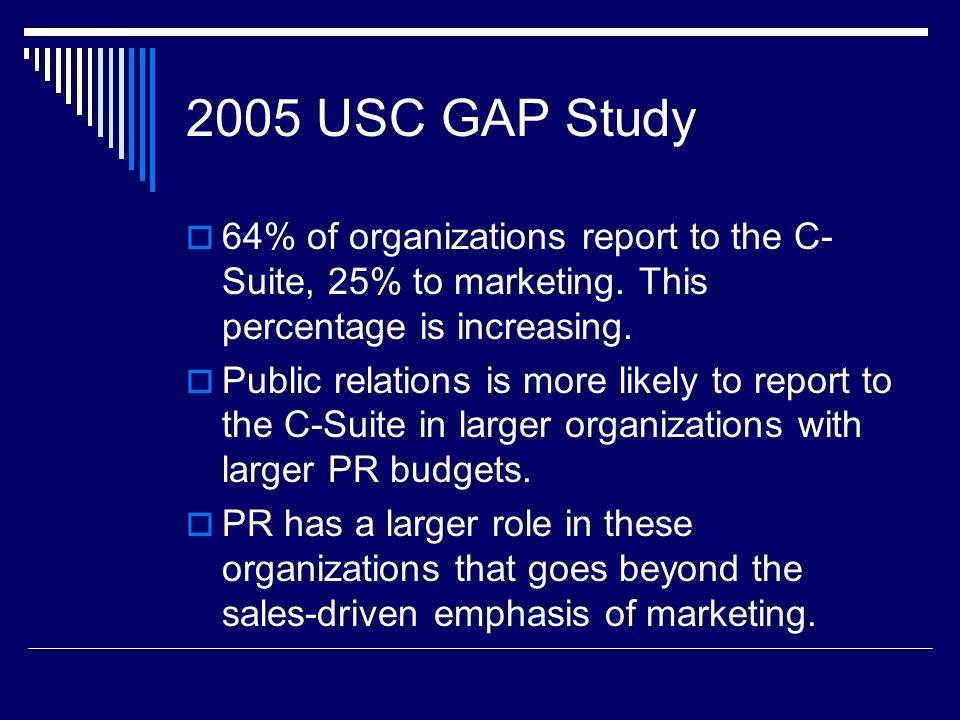 2005 USC GAP Study 64% of organizations report to the C- Suite, 25% to marketing. This percentage is increasing. Public relations is more likely to re