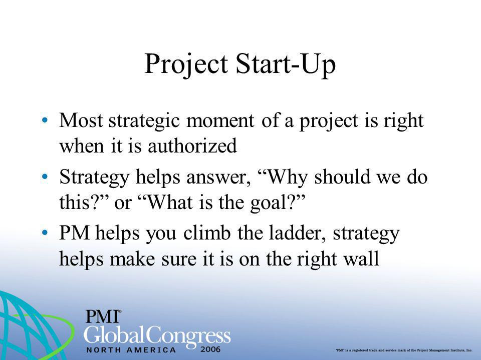Project Start-Up Most strategic moment of a project is right when it is authorized Strategy helps answer, Why should we do this? or What is the goal?