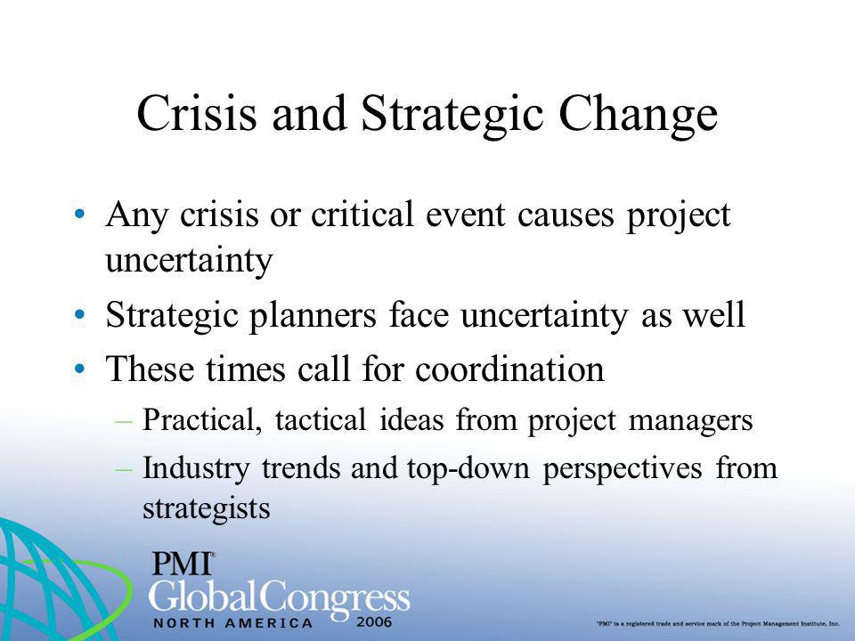 Crisis and Strategic Change Any crisis or critical event causes project uncertainty Strategic planners face uncertainty as well These times call for c