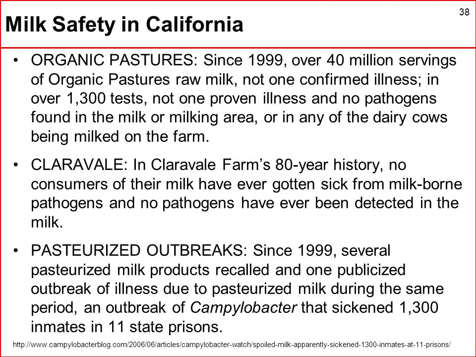 38 Milk Safety in California ORGANIC PASTURES: Since 1999, over 40 million servings of Organic Pastures raw milk, not one confirmed illness; in over 1