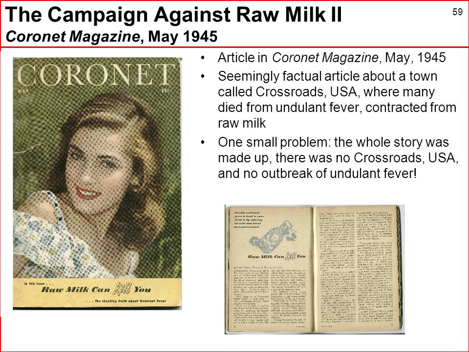 The Campaign Against Raw Milk II Coronet Magazine, May 1945 59 Article in Coronet Magazine, May, 1945 Seemingly factual article about a town called Cr