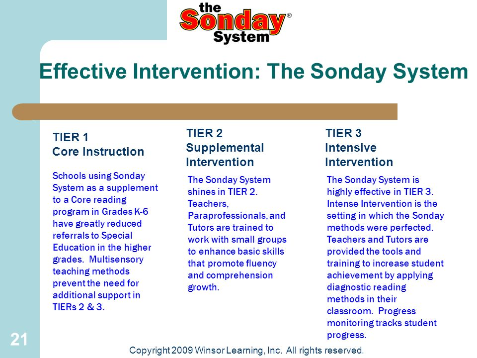 21 TIER 1 Core Instruction TIER 2 Supplemental Intervention The Sonday System shines in TIER 2. Teachers, Paraprofessionals, and Tutors are trained to