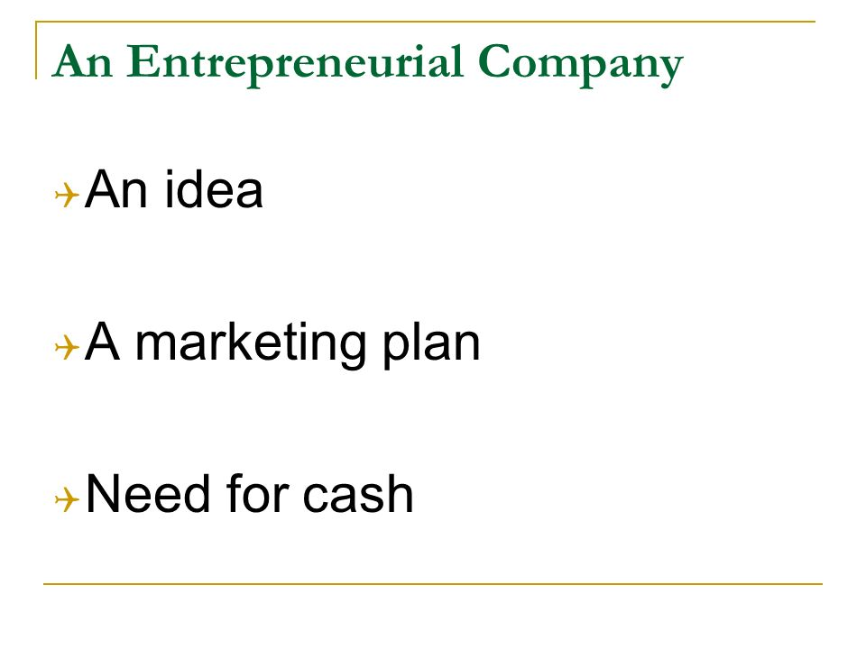 An Entrepreneurial Company An idea A marketing plan Need for cash