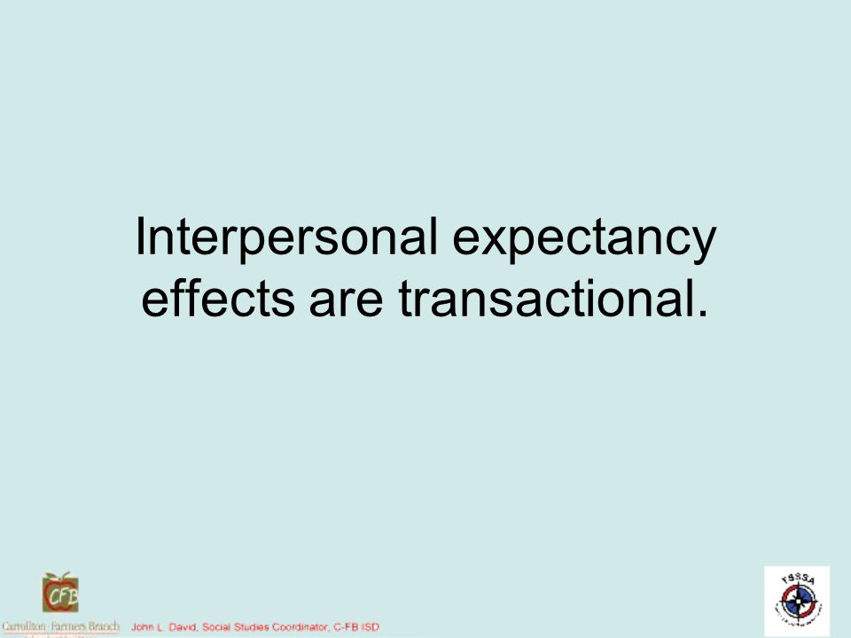 Interpersonal expectancy effects are transactional.