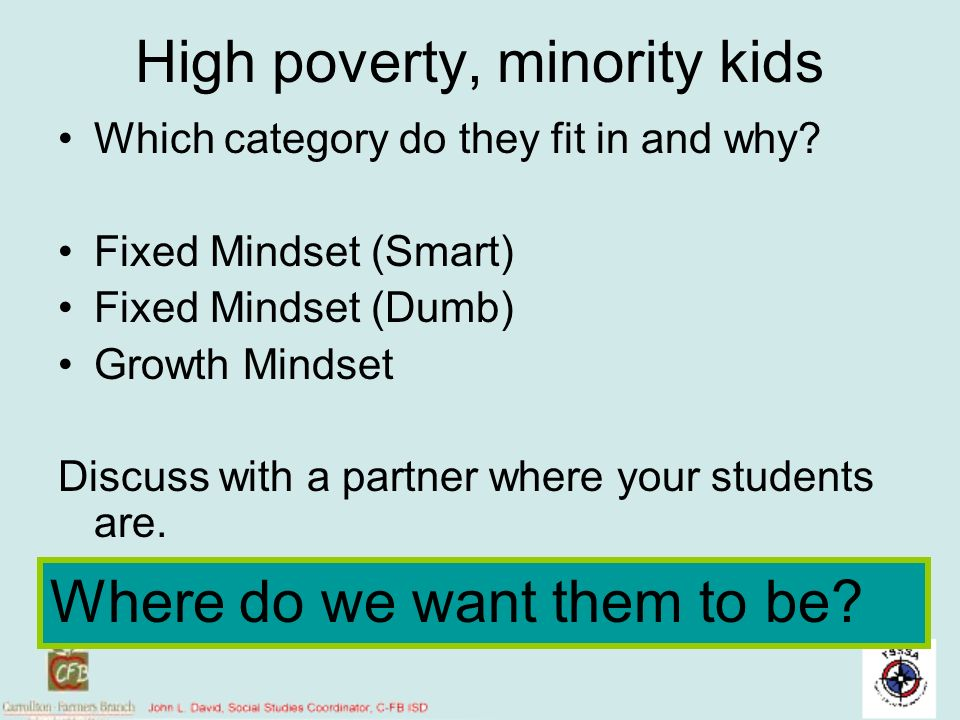 High poverty, minority kids Which category do they fit in and why? Fixed Mindset (Smart) Fixed Mindset (Dumb) Growth Mindset Discuss with a partner wh