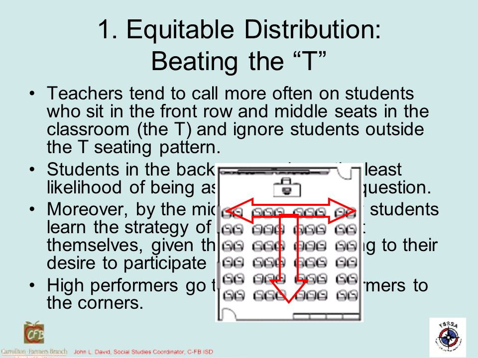 1. Equitable Distribution: Beating the T Teachers tend to call more often on students who sit in the front row and middle seats in the classroom (the