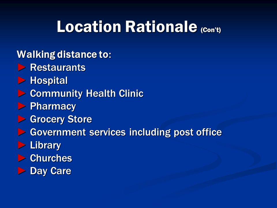 Location Rationale (Cont) Walking distance to: Restaurants Restaurants Hospital Hospital Community Health Clinic Community Health Clinic Pharmacy Phar