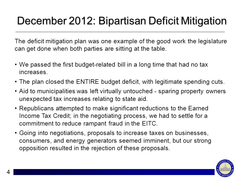 4 December 2012: Bipartisan Deficit Mitigation The deficit mitigation plan was one example of the good work the legislature can get done when both parties are sitting at the table.