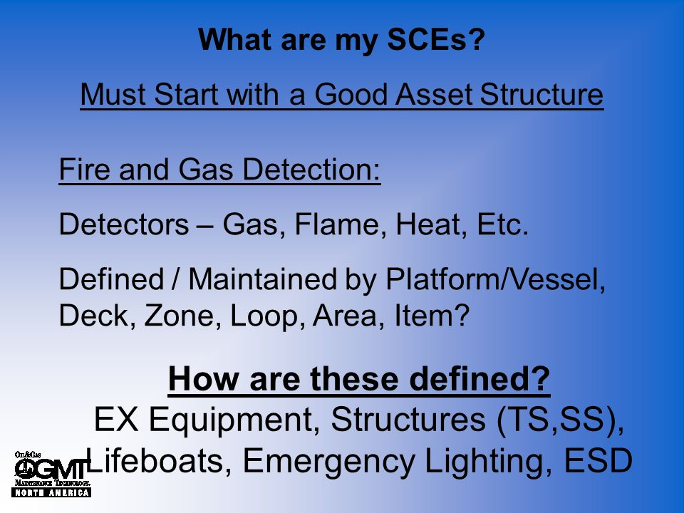 What are my SCEs? Must Start with a Good Asset Structure How are these defined? EX Equipment, Structures (TS,SS), Lifeboats, Emergency Lighting, ESD F