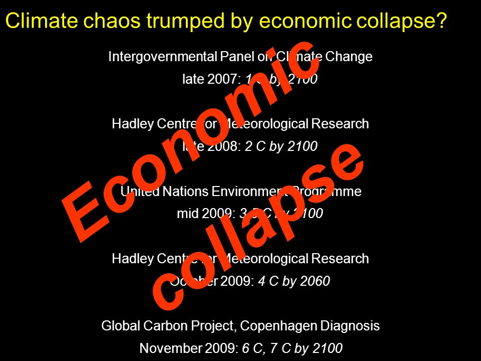 Climate chaos trumped by economic collapse? Intergovernmental Panel on Climate Change late 2007: 1 C by 2100 Hadley Centre for Meteorological Research