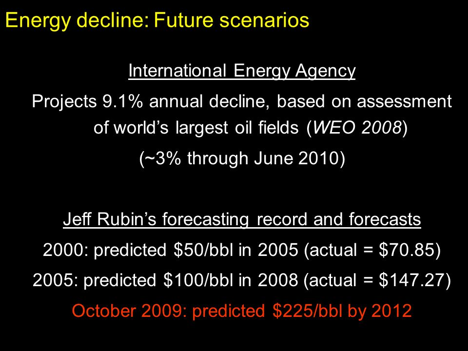 Energy decline: Future scenarios International Energy Agency Projects 9.1% annual decline, based on assessment of worlds largest oil fields (WEO 2008)