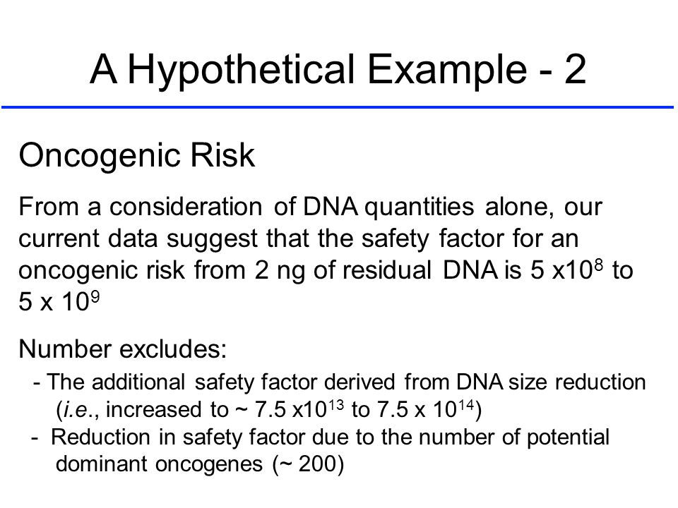 Oncogenic Risk From a consideration of DNA quantities alone, our current data suggest that the safety factor for an oncogenic risk from 2 ng of residu