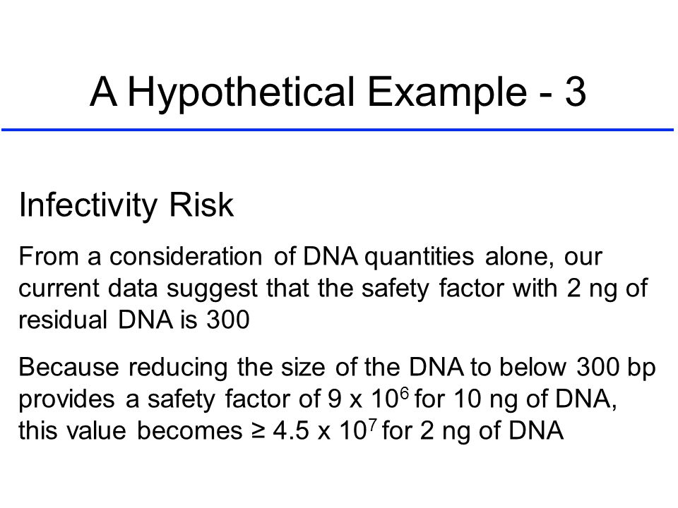 Infectivity Risk From a consideration of DNA quantities alone, our current data suggest that the safety factor with 2 ng of residual DNA is 300 Becaus