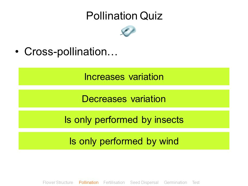 Pollination Quiz The two mechanisms for pollination are? Wind and water Insect and water Insect and wind Wind and birds Flower Structure Pollination F