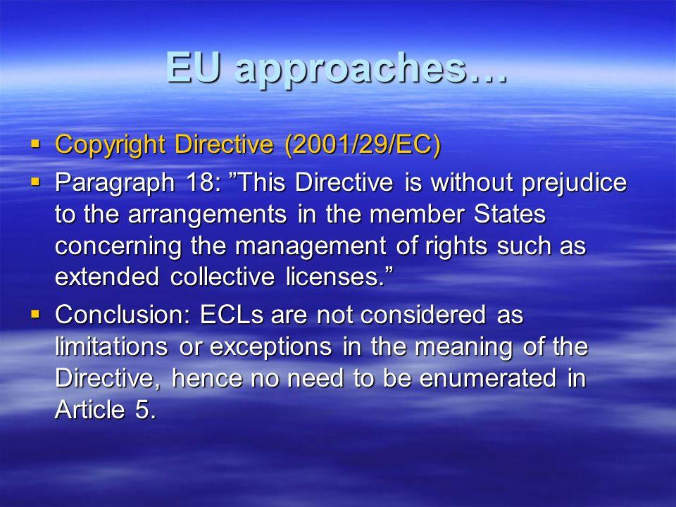 EU approaches… Copyright Directive (2001/29/EC) Copyright Directive (2001/29/EC) Paragraph 18: This Directive is without prejudice to the arrangements
