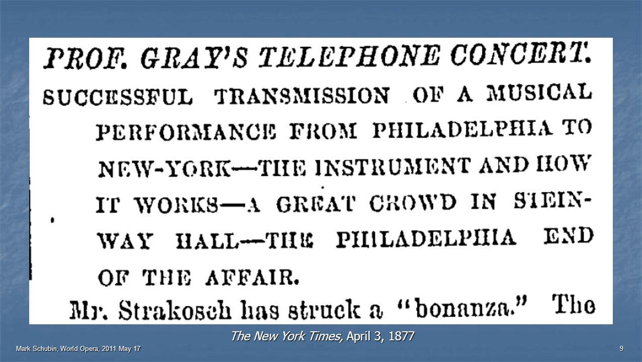 Mark Schubin, World Opera, 2011 May 17 8 Telegraph-controlled puppet, 1851 Harmonic telegraph, 1874