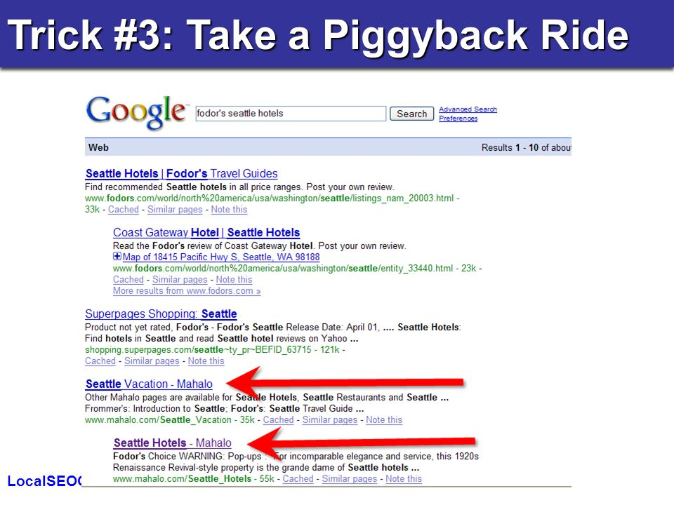 LocalSEOGuide.com Trick #3: Take a Piggyback Ride
