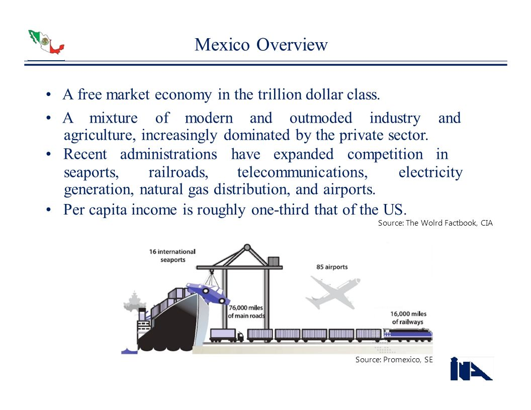 Mexico Overview A free market economy in the trillion dollar class. A mixture of modern and outmoded industry and agriculture, increasingly dominated