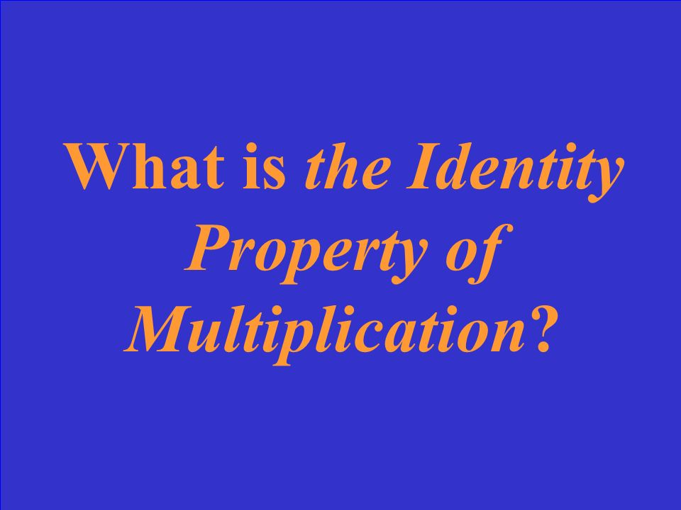 What is the Identity Property of Multiplication?