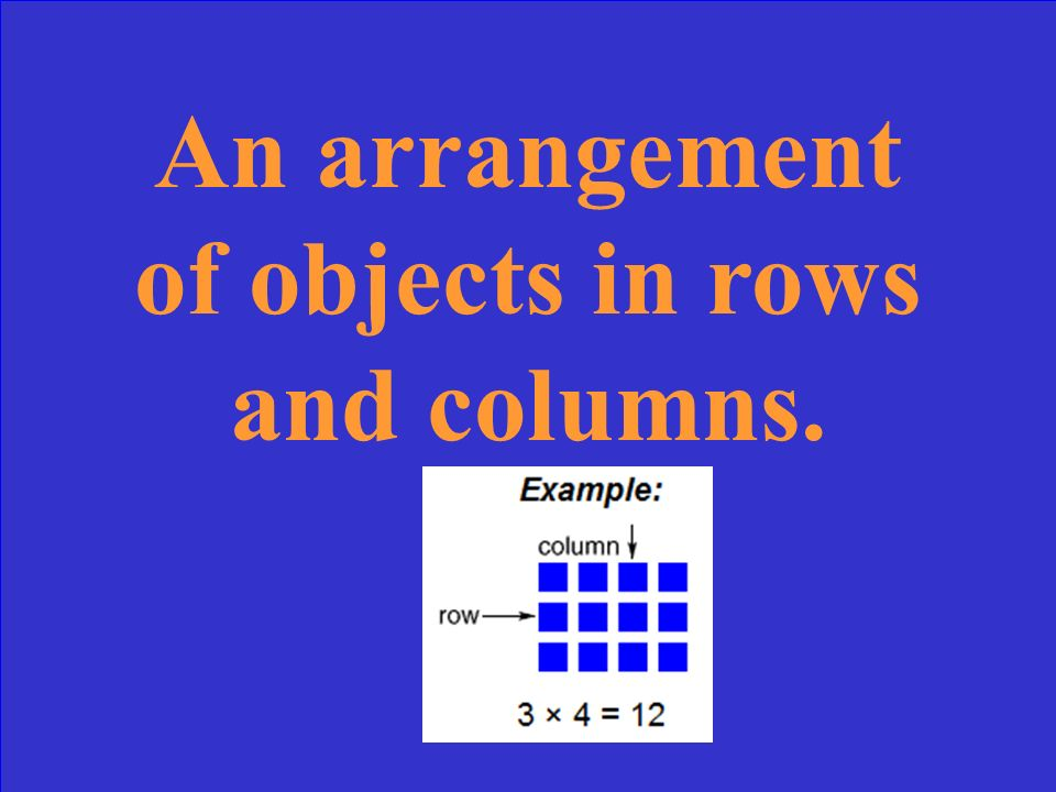 The answer in a multiplication problem. multiplication