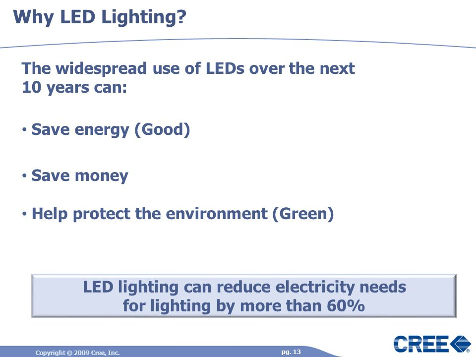 Copyright © 2009 Cree, Inc. pg. 13 Why LED Lighting? The widespread use of LEDs over the next 10 years can: Save energy (Good) Save money Help protect
