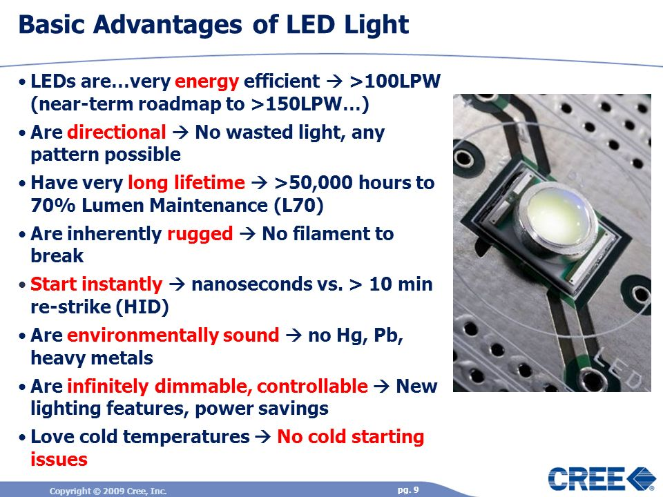 Copyright © 2009 Cree, Inc. pg. 9 Basic Advantages of LED Light LEDs are…very energy efficient >100LPW (near-term roadmap to >150LPW…) Are directional