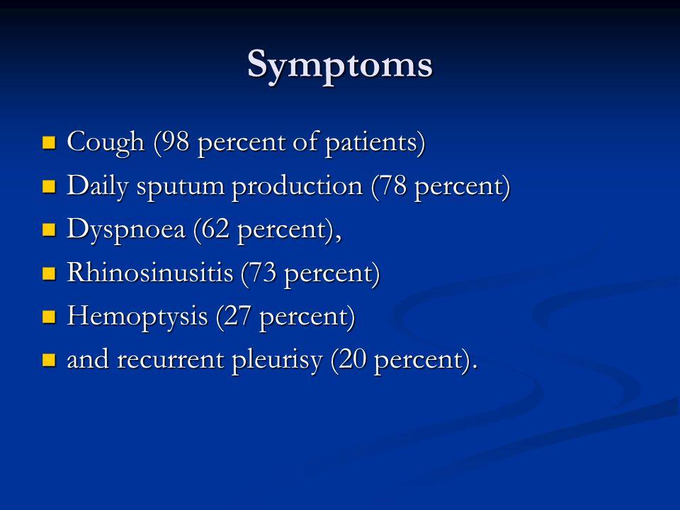 Symptoms Cough (98 percent of patients) Cough (98 percent of patients) Daily sputum production (78 percent) Daily sputum production (78 percent) Dyspn