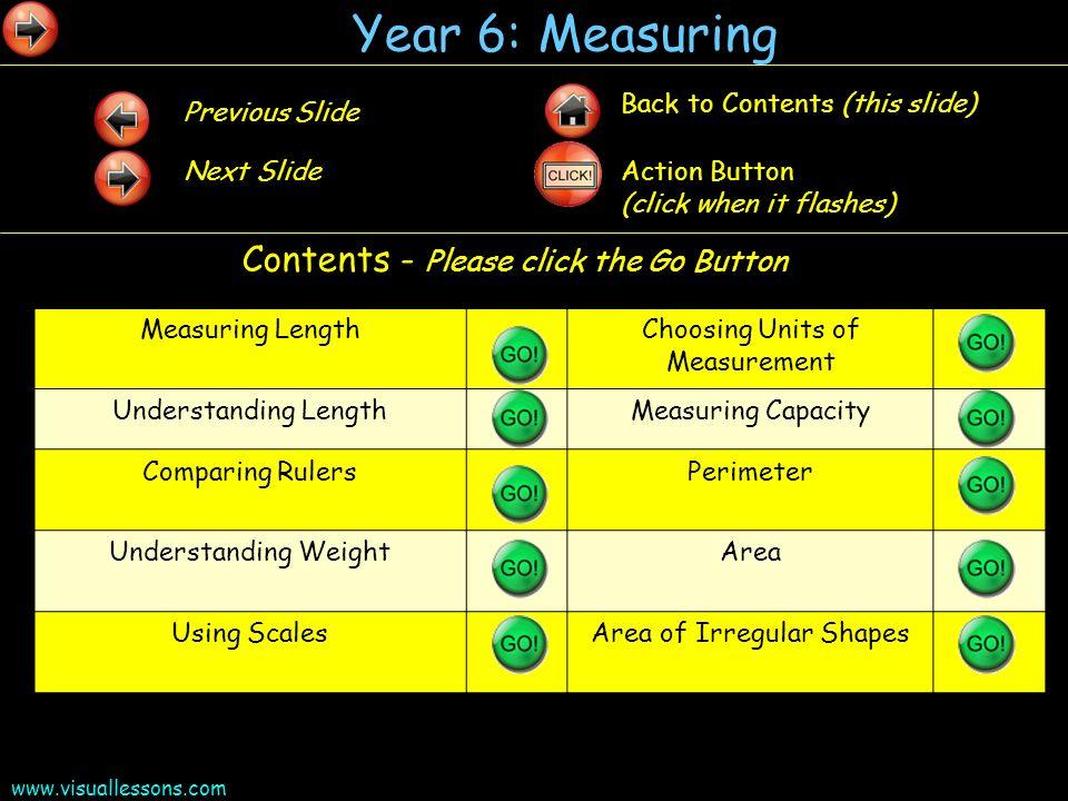 www.visuallessons.com Year 6: Measuring Measuring LengthChoosing Units of Measurement Understanding LengthMeasuring Capacity Comparing RulersPerimeter
