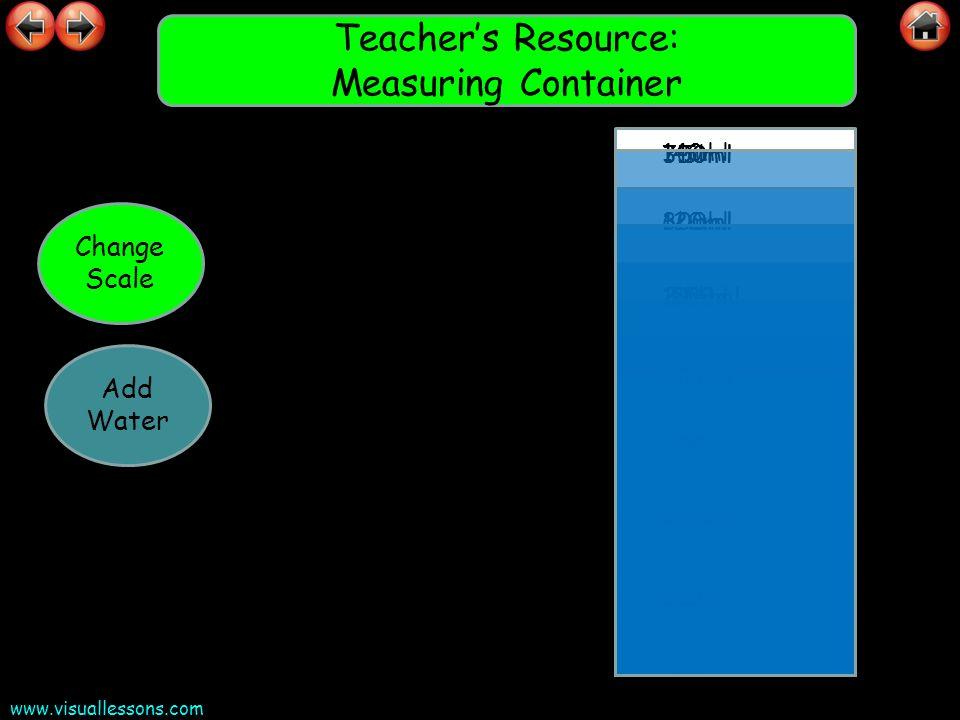 www.visuallessons.com Teachers Resource: Measuring Container 20ml 40ml 60ml 80ml 100ml 120ml 140ml 0ml Change Scale 2ml 4ml 6ml 8ml 10ml 12ml 14ml 0ml