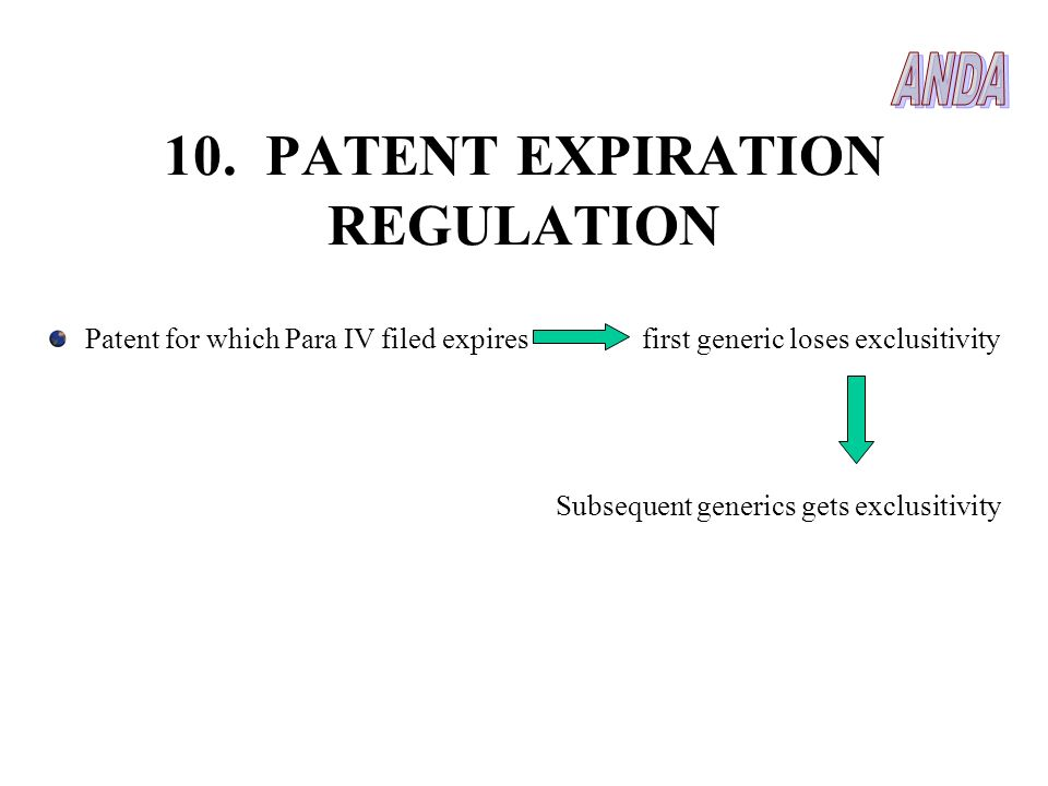 10. PATENT EXPIRATION REGULATION Patent for which Para IV filed expires first generic loses exclusitivity Subsequent generics gets exclusitivity
