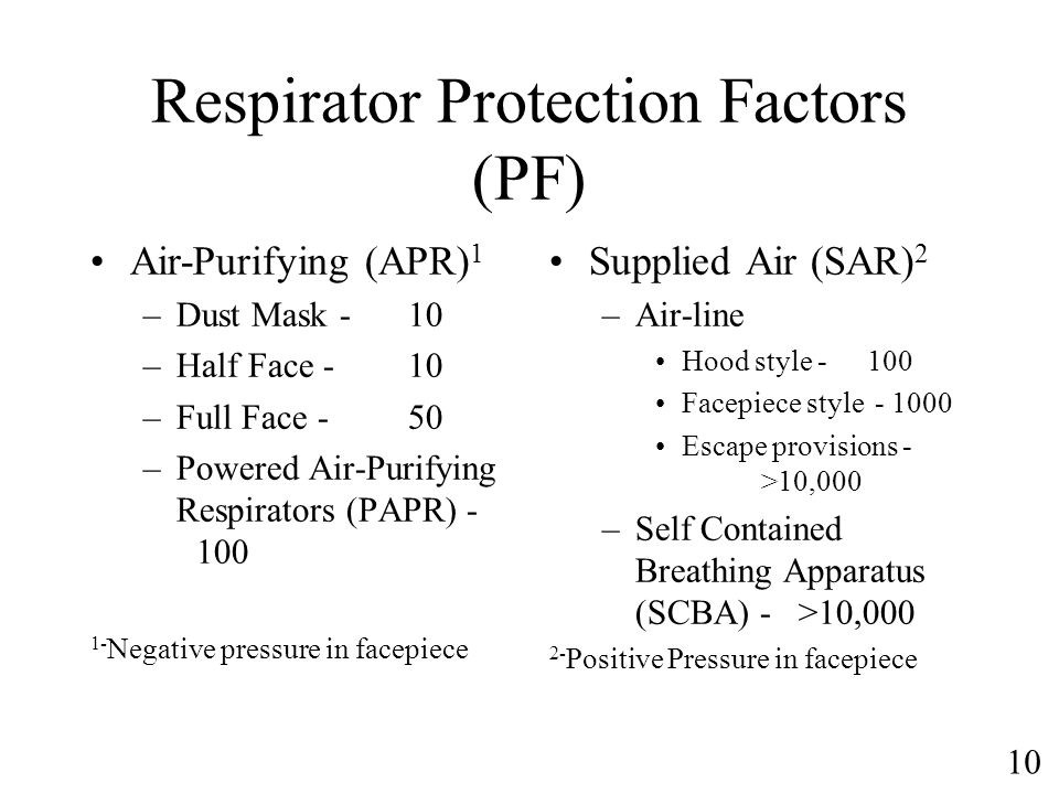 10 Respirator Protection Factors (PF) Air-Purifying (APR) 1 –Dust Mask -10 –Half Face -10 –Full Face -50 –Powered Air-Purifying Respirators (PAPR) - 1