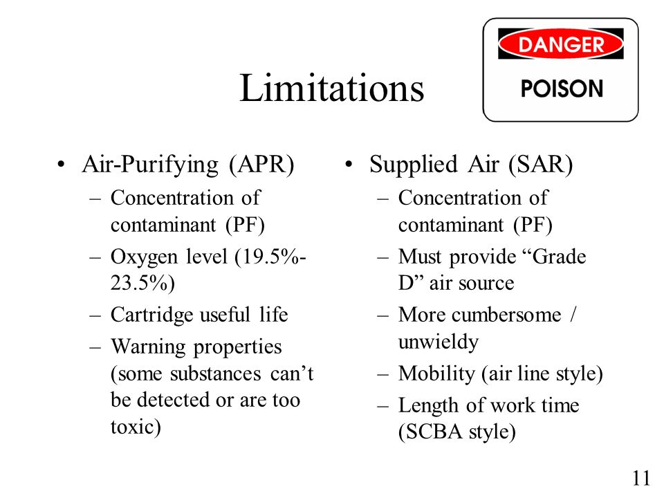 11 Limitations Air-Purifying (APR) –Concentration of contaminant (PF) –Oxygen level (19.5%- 23.5%) –Cartridge useful life –Warning properties (some su