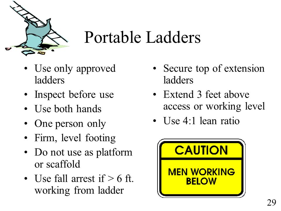 29 Portable Ladders Use only approved ladders Inspect before use Use both hands One person only Firm, level footing Do not use as platform or scaffold
