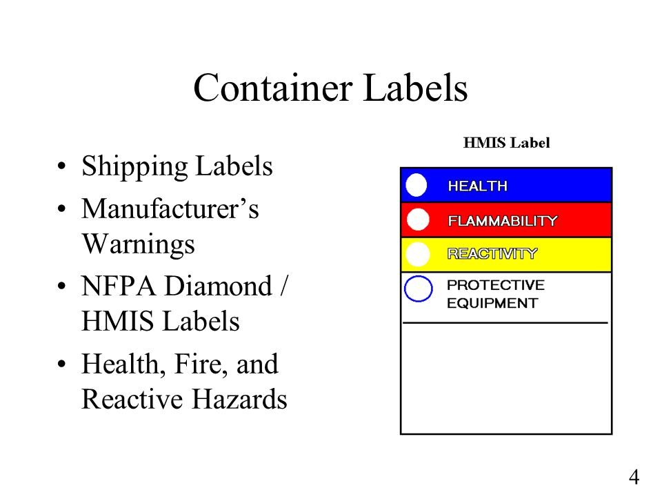 4 Container Labels Shipping Labels Manufacturers Warnings NFPA Diamond / HMIS Labels Health, Fire, and Reactive Hazards