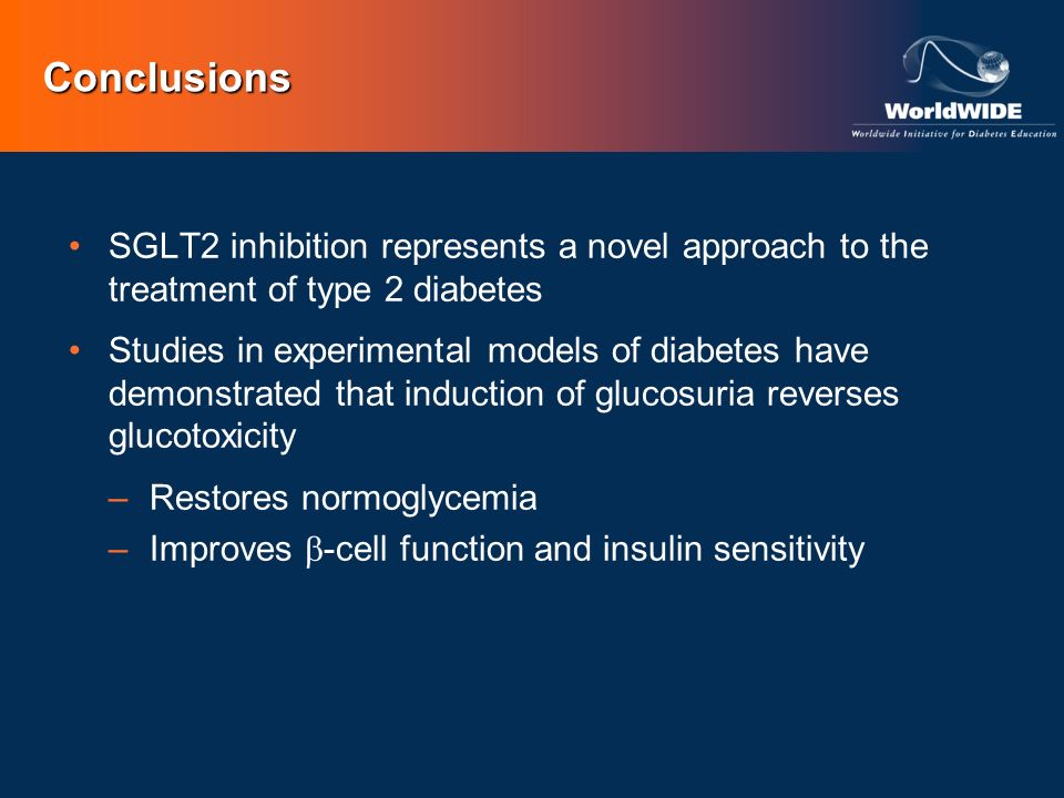 Conclusions SGLT2 inhibition represents a novel approach to the treatment of type 2 diabetes Studies in experimental models of diabetes have demonstra