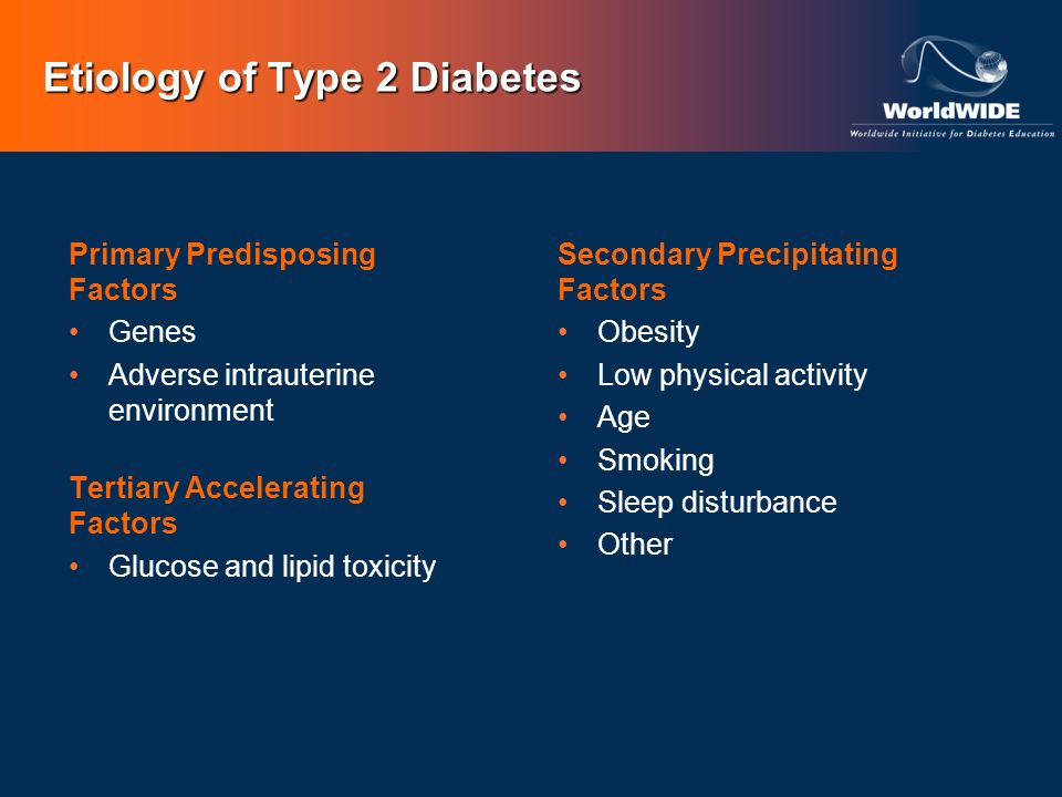 Etiology of Type 2 Diabetes Primary Predisposing Factors Genes Adverse intrauterine environment Tertiary Accelerating Factors Glucose and lipid toxici