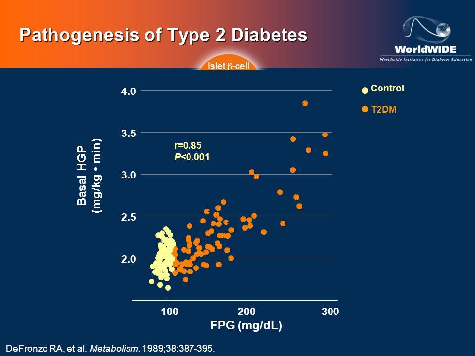 DeFronzo RA, et al. Metabolism. 1989;38:387-395. Pathogenesis of Type 2 Diabetes Islet -cell Impaired Insulin Secretion IncreasedHGP Decreased Glucose