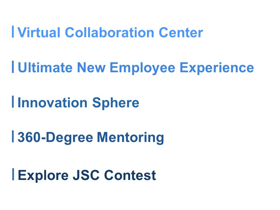 Innovation Sphere Virtual Collaboration Center Ultimate New Employee Experience 360-Degree Mentoring Explore JSC Contest