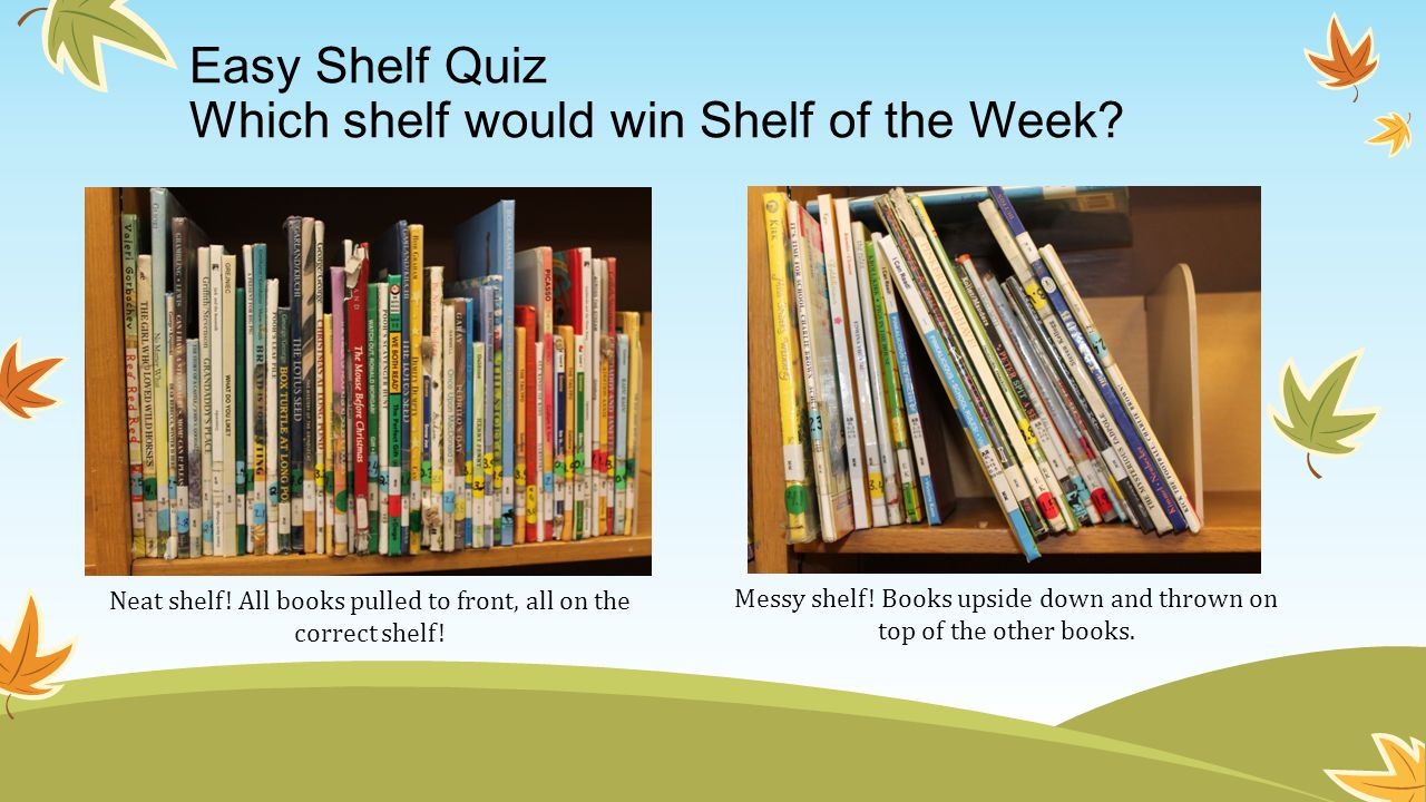 Easy Shelf Quiz Which shelf would win Shelf of the Week? Neat shelf! All books pulled to front, all on the correct shelf! Messy shelf! Books upside do