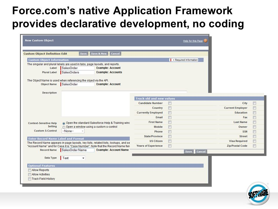 Force.coms native Application Framework provides declarative development, no coding