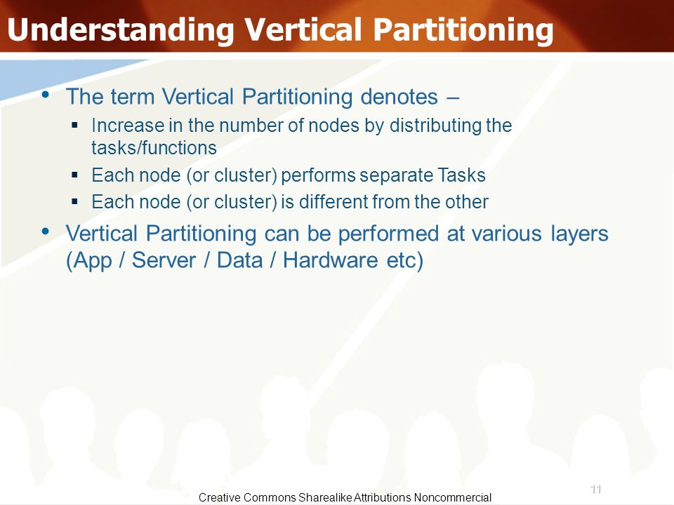 11 Creative Commons Sharealike Attributions Noncommercial Understanding Vertical Partitioning The term Vertical Partitioning denotes – Increase in the