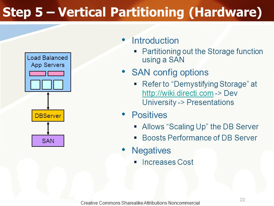 22 Creative Commons Sharealike Attributions Noncommercial Step 5 – Vertical Partitioning (Hardware) DBServer Introduction Partitioning out the Storage