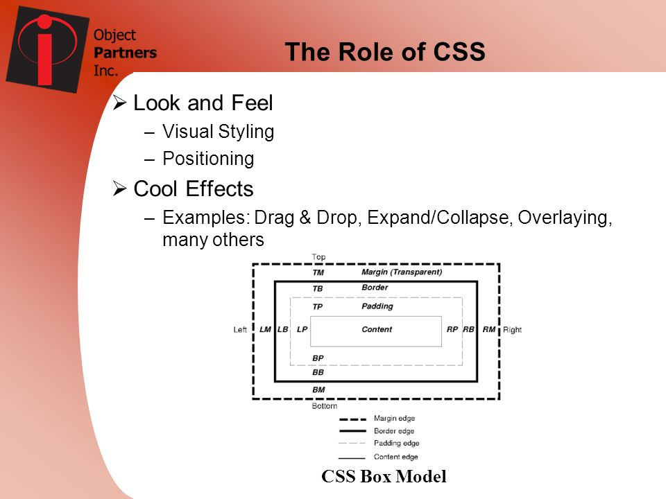 The Role of CSS Look and Feel –Visual Styling –Positioning Cool Effects –Examples: Drag & Drop, Expand/Collapse, Overlaying, many others CSS Box Model