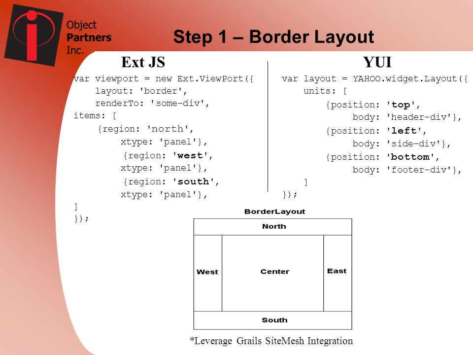 Step 1 – Border Layout Ext JSYUI *Leverage Grails SiteMesh Integration var viewport = new Ext.ViewPort({ layout: 'border', renderTo: 'some-div', items