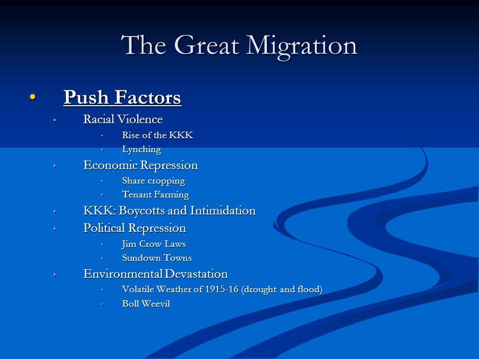 The Great Migration Push FactorsPush Factors Racial Violence Racial Violence Rise of the KKK Rise of the KKK Lynching Lynching Economic Repression Eco
