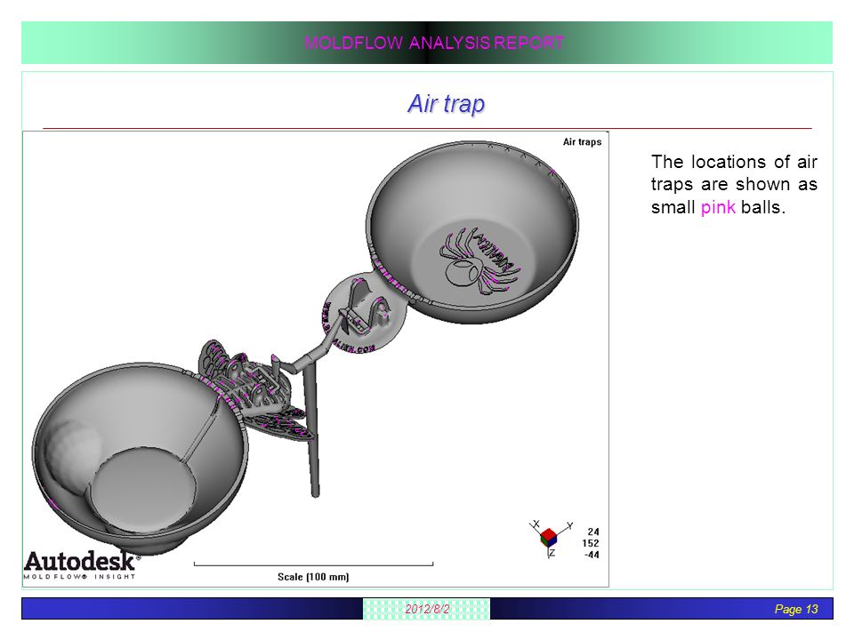 Page 13 2012/8/2 MOLDFLOW ANALYSIS REPORT Air trap The locations of air traps are shown as small pink balls.