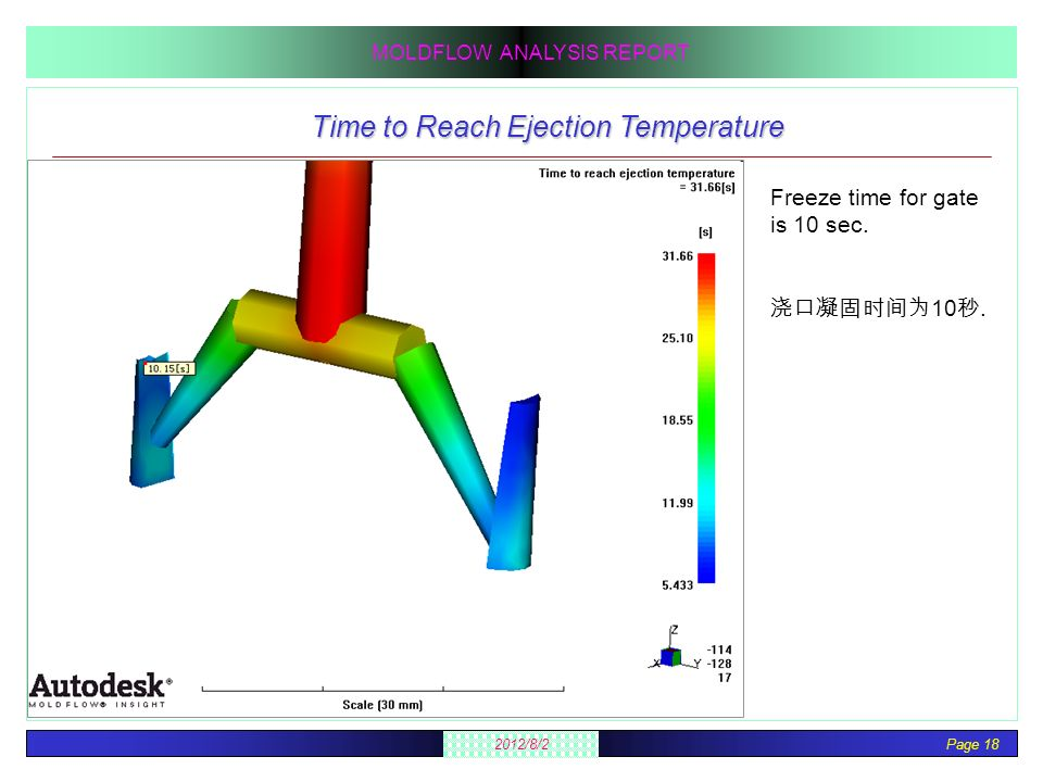 Page 18 2012/8/2 MOLDFLOW ANALYSIS REPORT Time to Reach Ejection Temperature Freeze time for gate is 10 sec. 10.