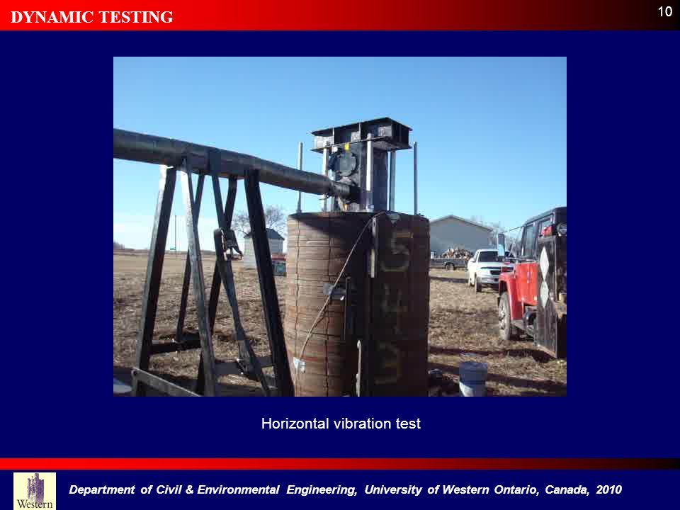 10 Horizontal vibration test DYNAMIC TESTING Department of Civil & Environmental Engineering, University of Western Ontario, Canada, 2010