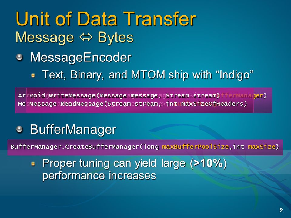 9 MessageEncoder Text, Binary, and MTOM ship with Indigo BufferManager Proper tuning can yield large (>10%) performance increases ArraySegment WriteMe